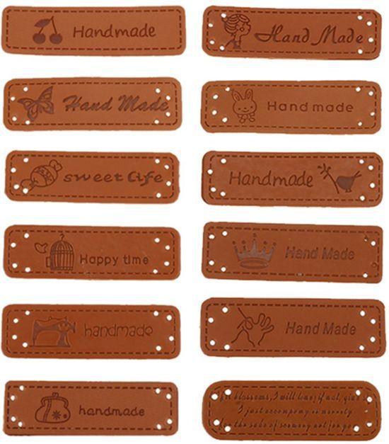 24x Lederen Hand made tags   Handgemaakt
