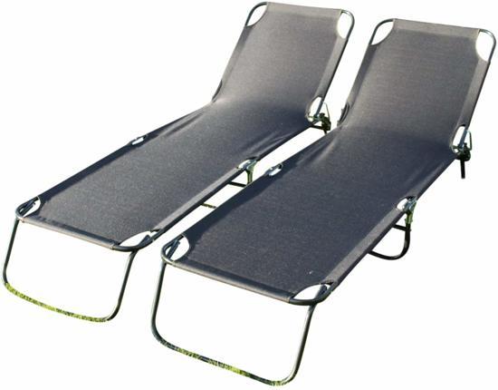 Ligbed Voor In De Tuin.Set Van 2 Comfortabele Ligbedden Voor In De Tuin Zwart Textoline Verstelbaar
