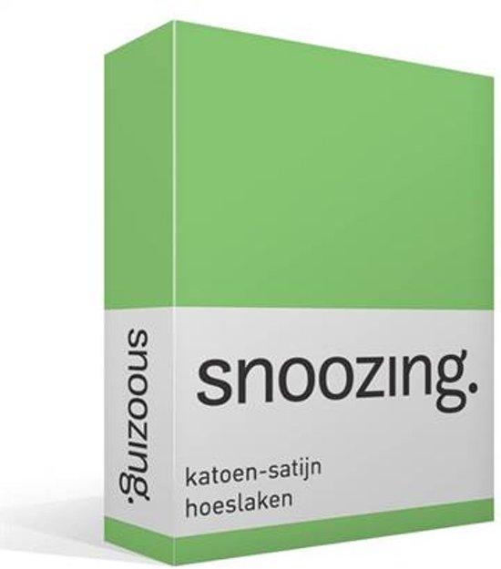 Snoozing - Katoen-satijn - Hoeslaken - Eenpersoons - 90x200 cm - Lime