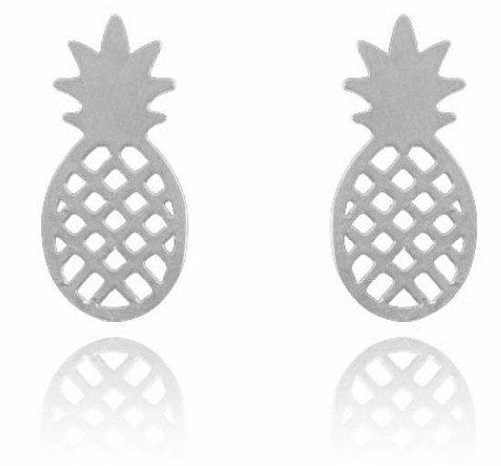 Ananas pineapple trendy Oorbellen - Dames - zilverkleurig