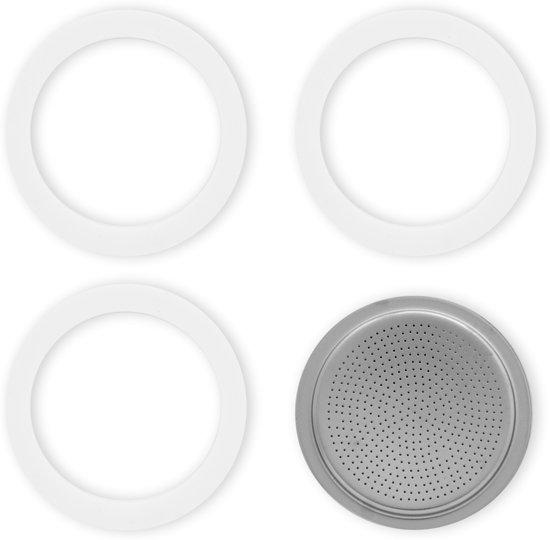 Bialetti filterplaatje + rubber ringen - 6 kops