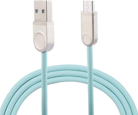 1 m TPE gevlochten kabel metalen connector USB A naar Micro USB Data Sync oplaadkabel, voor Galaxy, Huawei, Xiaomi, LG, HTC en andere slimme telefoons (Mintgroen)