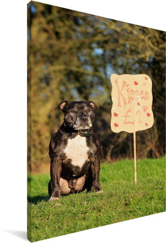 Staffordshire Bull Terrier bij een valentijn bord Canvas 120x180 cm - Foto print op Canvas schilderij (Wanddecoratie woonkamer / slaapkamer) / Huisdieren Canvas Schilderijen XXL / Groot formaat!