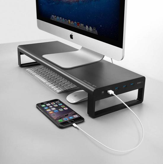 Nava® Monitor standaard aluminium met 4 USB poorten | Stijlvolle monitor verhoger met USB poorten voor het opladen van uw apparaten | Ruimte voor opbergen van uw toetsenbord, agenda en dergelijke | Ergonomisch design stimuleert een gezonde houding