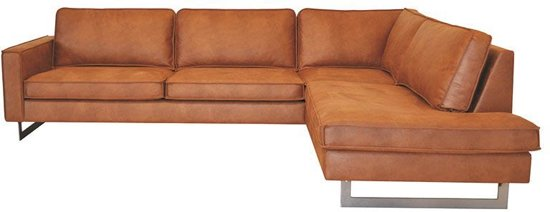 HomingXL Hoekbank Riverdance chaise longue rechts - leer Colorado cognac 03 - 2,90 x 2,17 mtr breed