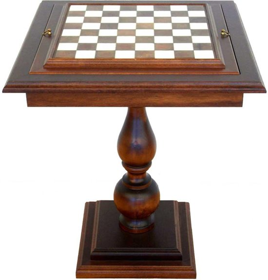 Luxe schaakset - Perzische set schaakstukken XL zwart/wit met goud + Schaaktafel Albaster - 58 x 58 x 67 cm