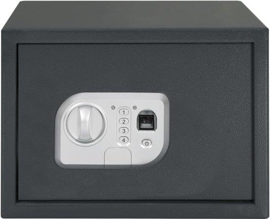 vidaXL Kluis digitaal met vingerafdruk 35x25x25 cm donkergrijs