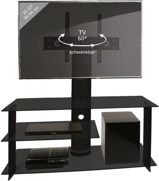 Tv Beugel Voor In Kast.Bol Com Tv Kast Tv Meubel Bulmo Verrijdbaar Draaibaar Zwart