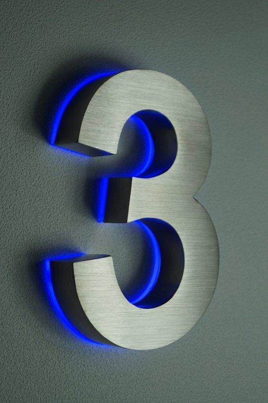 bol.com | Huisnummer met LED verlichting van RVS | Hoogte 20cm Nummer 3