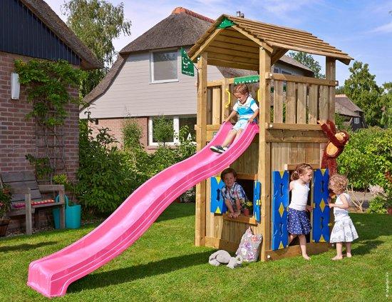 Jungle Gym - Cottage Playhouse 145 - Speelhuis voor Buiten - Met Glijbaan - Fuchsia