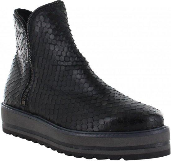 Tango | Bee Striped 35-a Escamado Black Zipper Boot - Black/grey Sole Maat: 41