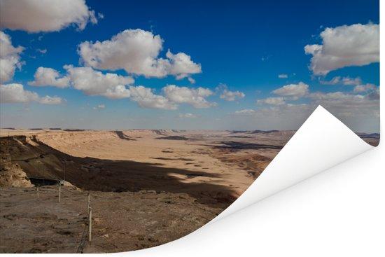 Wolken boven de Makhtesh Ramon in Israël Poster 60x40 cm - Foto print op Poster (wanddecoratie woonkamer / slaapkamer)