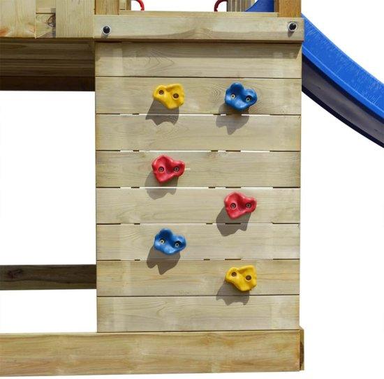 vidaXL Speelhuis met ladder, glijbaan en schommels 557x280x271 cm hout