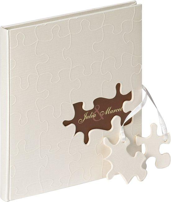Walther Design GB-173 Puzzel - Gastenboek - 23 x 25 cm - Crème - 144 pagina's Valentinaa