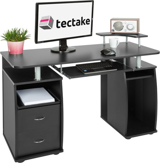 tectake computerbureau buro 115 cm breed zwart 402037. Black Bedroom Furniture Sets. Home Design Ideas