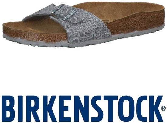 Birkenstock Madrid Magic Snake zilver slippers dames
