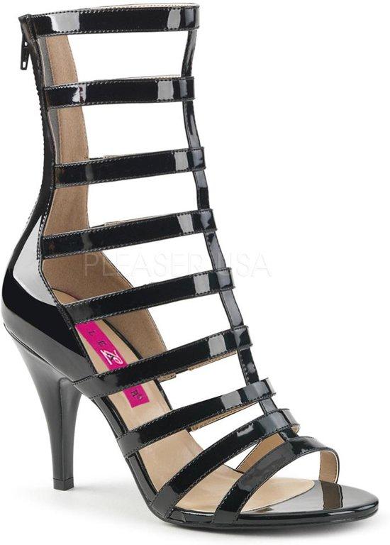 Dream-438 lak sandaal enkellaars met bandjes en hak zwart - (EU 45 = US 14) - Pleaser Pink Label