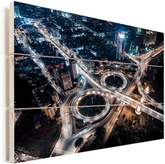 Verlichting op de snelwegen in de Chinese stad Harbin Vurenhout met planken 40x30 cm - klein - Foto print op Hout (Wanddecoratie)