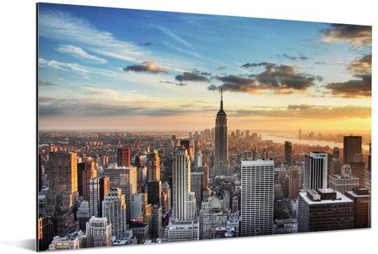 Indrukwekkende lucht boven het Empire State Building in Amerika Aluminium 30x20 cm - klein - Foto print op Aluminium (metaal wanddecoratie)