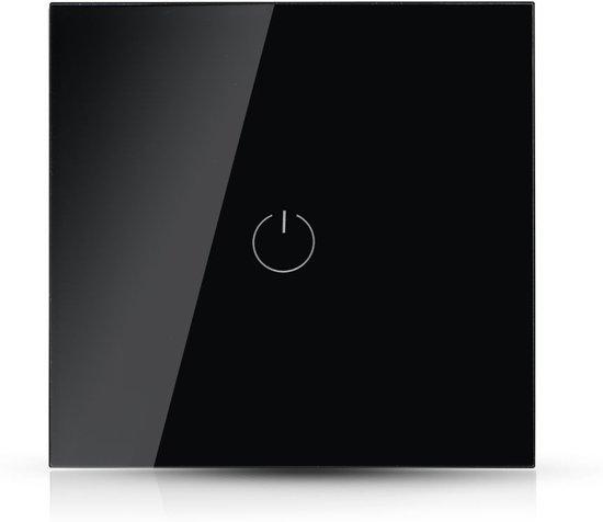 V-tac Smarthome VT-5003 Inbouw WiFi touch schakelaar - 1 knop - zwart - Werkt met Amazon Alexa en Google Home Assistant
