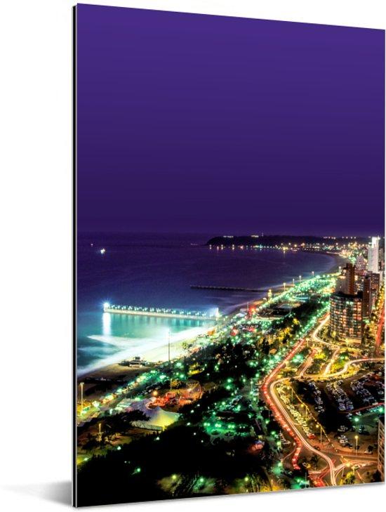 Durban prachtig verlicht in de avond Aluminium 20x30 cm - klein - Foto print op Aluminium (metaal wanddecoratie)