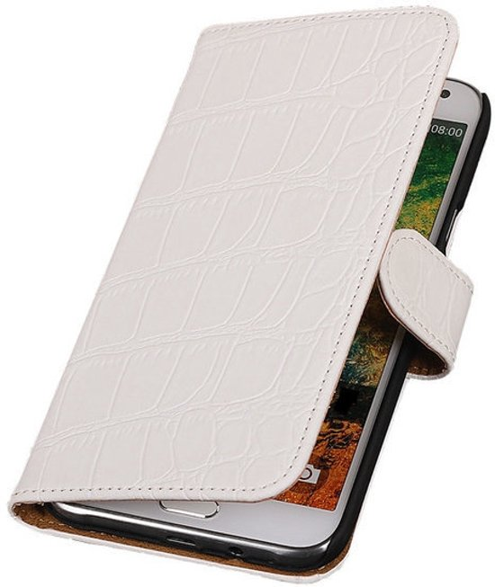 MiniPrijzen -  booktype - bookstyle - Wallet Case - Flip Cover - Book Case Bescherm Hoes Wit Krokodil Samsung Galaxy Core Prime Telefoonhoesje - Smartphone hoesje in Nieuwerkerk aan den IJssel