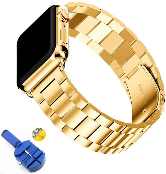 Metalen Armband Voor Apple Watch Series 4 44 MM Horloge Band Strap - iWatch Schakel Polsband RVS - Goud Kleurig