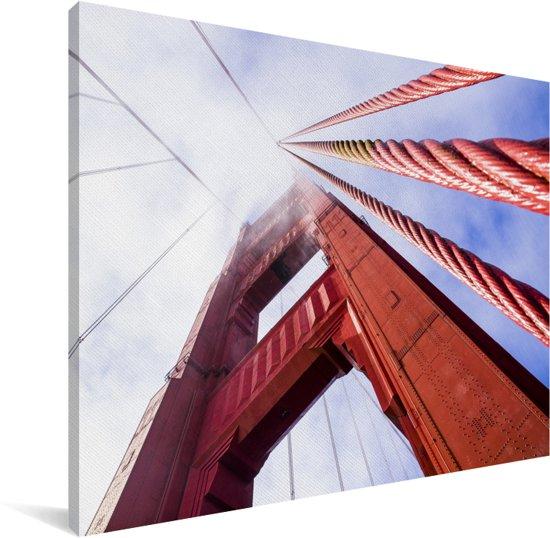 Rode fundering van de Golden Gate Bridge in San Francisco Canvas 80x60 cm - Foto print op Canvas schilderij (Wanddecoratie woonkamer / slaapkamer) / Amerikaanse steden Canvas Schilderijen