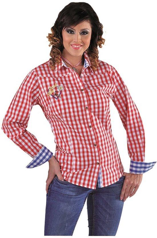 Geliefde bol.com | Luxe rood-wit geblokte Oktoberfest blouse voor dames &NI71