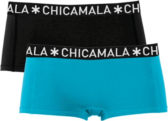 ChicaMala - Meisjes 2-pack Boxershorts Blauw Zwart - 158