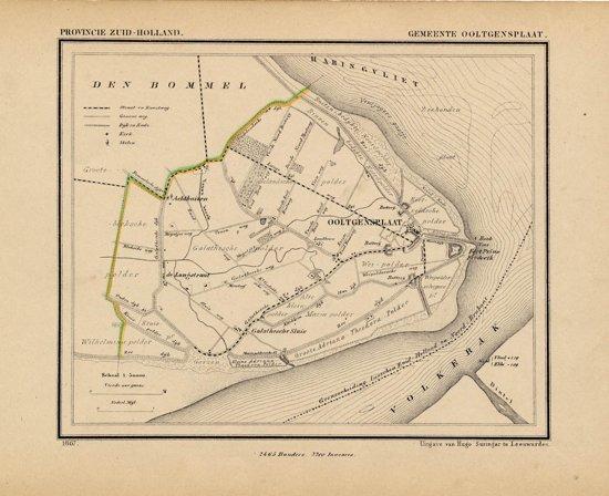 Historische kaart, plattegrond van gemeente Ooltgensplaat in Zuid Holland uit 1867 door Kuyper van Kaartcadeau.com
