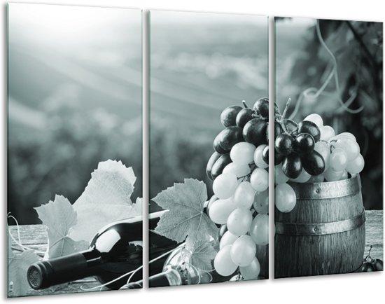 Glas schilderij Druiven, Keuken | Grijs, Groen | 120x80cm 3Luik | Foto print op Glas |  F006844