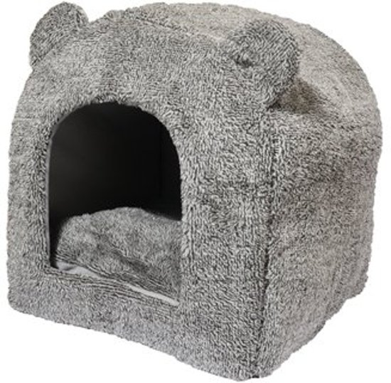 40 Winks Teddybeer Iglo - Kattenmand - Grijs - 38x38x40 cm