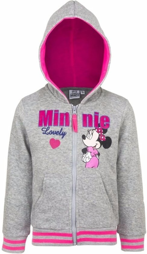 Minnie Mouse sweater met rits grijs 128