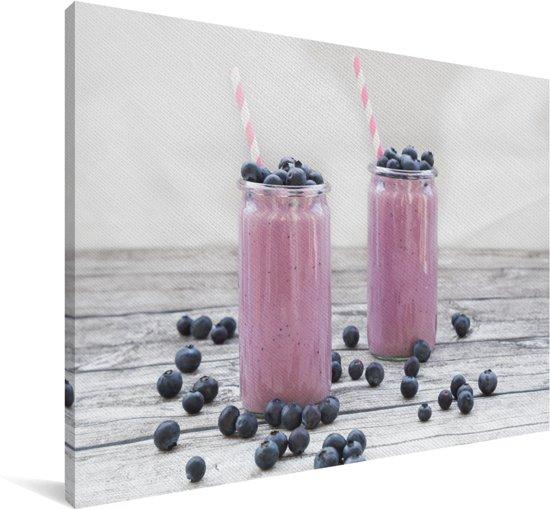 Smoothie met blauwe bessen Canvas 60x40 cm - Foto print op Canvas schilderij (Wanddecoratie woonkamer / slaapkamer)