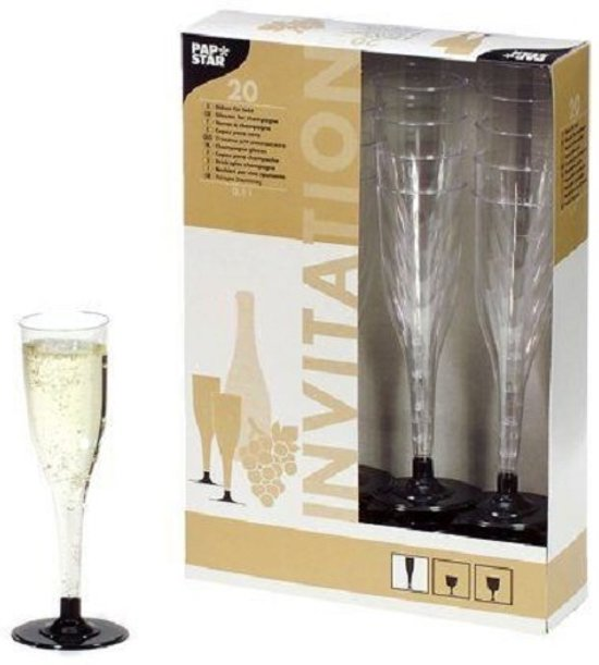 Papstar champagneglazen - 0.1 l - 20 stuks