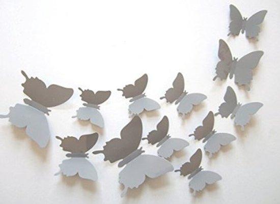 Bol elegante vlinder muur decoratie grijs