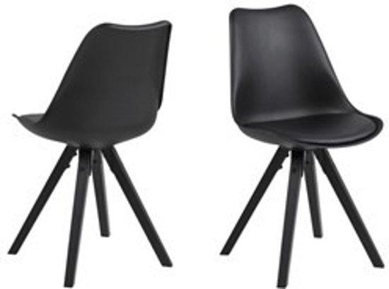 bol.com | FYN Dry kuipstoel zwart met zwart houten onderstel - set van 2