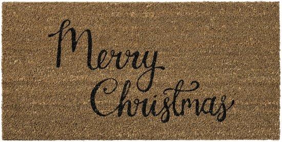 Bloomingville Kerst - Deurmat - Kokos - 'Merry Christmas' - 40x80cm