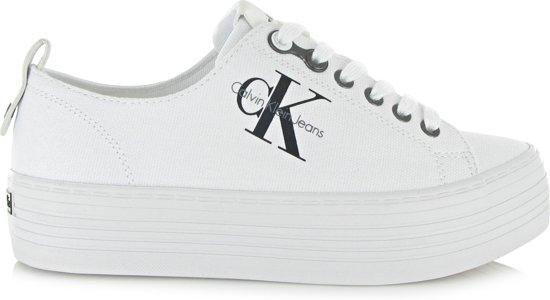 Calvin Klein Sneaker Laag Zolah Canvas Dames Flatform - Wit | 41