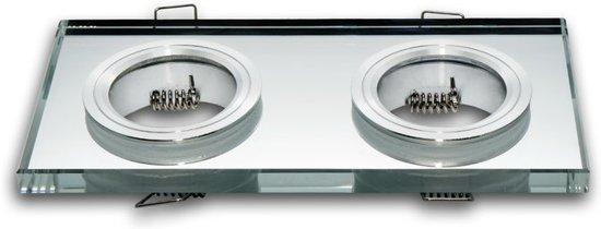 LED line Inbouwspot - Dubbel - Vierkant - Glas - 178x89 mm - GU5.3 Fitting - Chroom