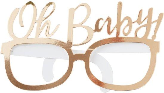 Papieren brillen Oh Baby goud (8 stuks) Valentinaa
