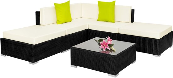 TecTake - wicker tuinset, loungeset aluminiuim frame, zwart, 402114