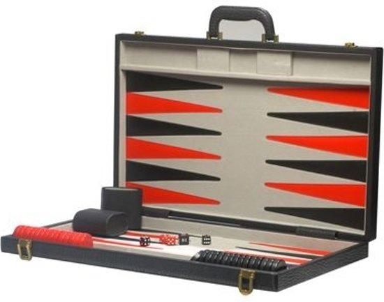 Afbeelding van het spel Backgammon Lion lederlook zwart/rood/grijs 46cm