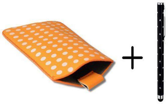 Polka Dot Hoesje voor Wiko Highway met gratis Polka Dot Stylus, Oranje, merk i12Cover in Zonnemaire