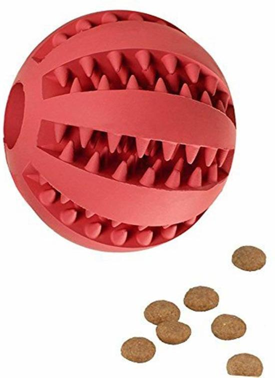 Langzame Voedingsbal - Hondenspeelgoed - Rood - 7 cm