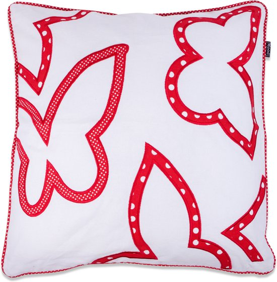 In The Mood Contour Butterfly - Sierkussen - 50x50 cm - Rood/Ivoor Wit