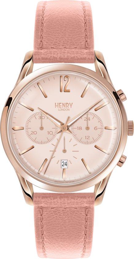 Henry London HL39-CS-0158 - Horloge - Leer - Roze - Ø 39 mm