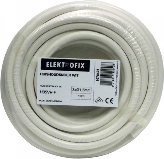 Elektrofix huishoudsnoer 3 x 1,5 mm wit 10 m