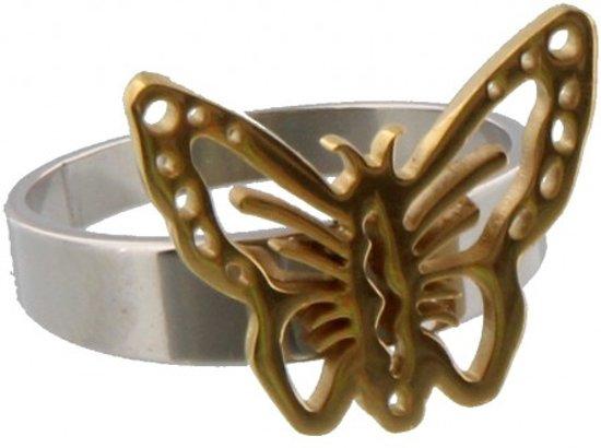 Zilverkleurige ring van roestvrij staal met een goudkleurige vlinder erop.